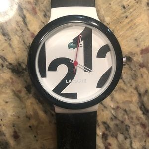 Lacoste watch: black and white silicone